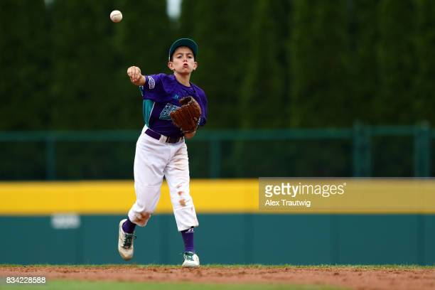 Federico Tiburtini of the Europe Africa team from Italy throws to first for an out during Game 3 of the 2017 Little League World Series against the...