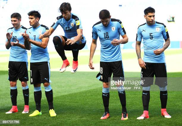 Federico Valverde Joaquin Ardaiz Agustin Canobbio Agustin Rogel and Mathias Olivera of Uruguay before their FIFA U20 World Cup Korea Republic 2017...