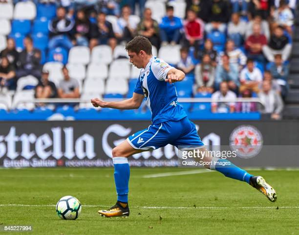 Federico Valverde of Deportivo de La Coruna in action during the La Liga match between Deportivo La Coruna and Real Sociedad at on September 10 2017...
