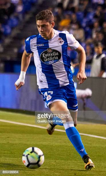Federico Valverde of Deportivo de La Coruna in action during the La Liga match between Deportivo La Coruna and Deportivo Alaves at Abanca Riazor...