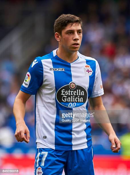 Federico Valverde of Deportivo de La Coruna looks on during the La Liga match between Deportivo La Coruna and Real Sociedad at on September 10 2017...