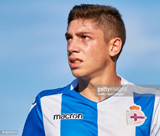 Federico Valverde of Deportivo de La Coruna looks on during the preseason friendly match between Arosa SC and Deportivo de La Coruna at Estadio...