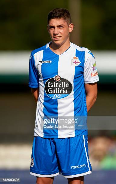 Federico Valverde of Deportivo de La Coruna looks on prior to the preseason friendly match between Deportivo de La Coruna and Racing Villalbes at A...
