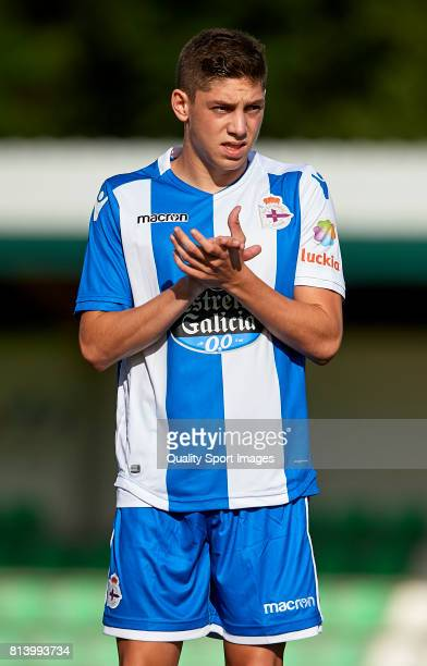 Federico Valverde of Deportivo de La Coruna reacts prior to the preseason friendly match between Deportivo de La Coruna and Racing Villalbes at A...