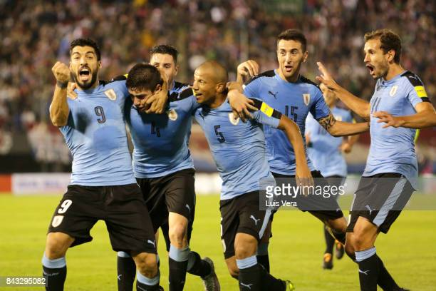 Federico Valverde of Uruguay celebrates with teammates Luis Suarez Carlos Sanchez Matias Vecino and Christian Stuani after scoring the first goal of...