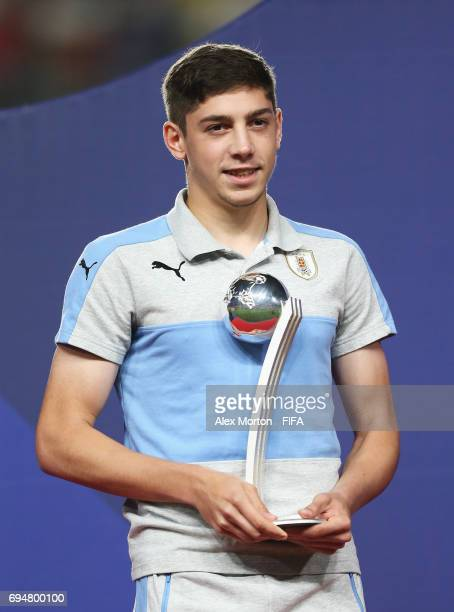 Federico Valverde of Uruguay poses with the Silver Ball Award after the FIFA U20 World Cup Korea Republic 2017 Final between Venezuela and England at...