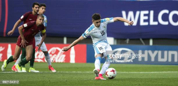 Federico Valverde of Uruguay scores his teams second goal during the FIFA U20 World Cup Korea Republic 2017 Quarter Final match between Portugal and...