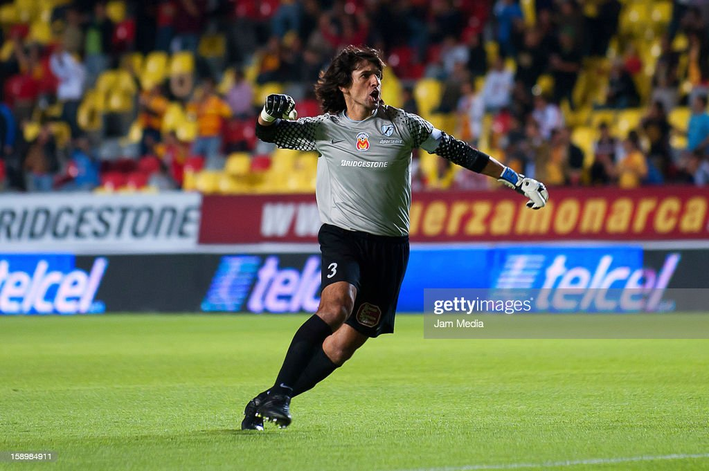 Federico Villar of Morelia celebrates a scored goal during a match as part of the Clausura 2013 Liga MX at Morelos Stadium on january 04, 2013 in Morelia, Mexico.