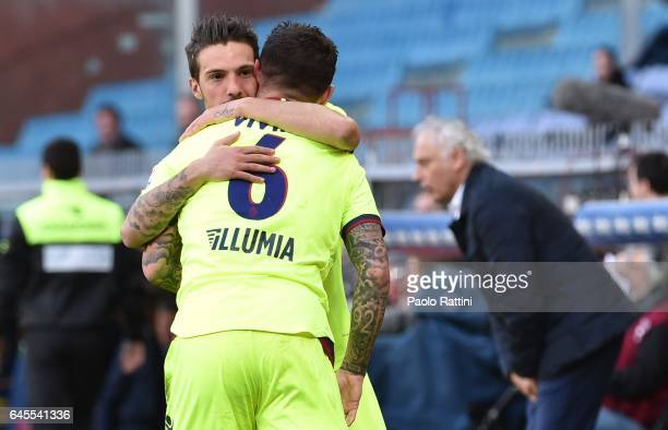 Federico Viviani of Bologna celebrates after scoring goal 01 during the Serie A match between Genoa CFC and Bologna FC at Stadio Luigi Ferraris on...