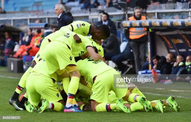 Federico Viviani of Bologna celebrates after scoring gol 01 during the Serie A match between Genoa CFC and Bologna FC at Stadio Luigi Ferraris on...