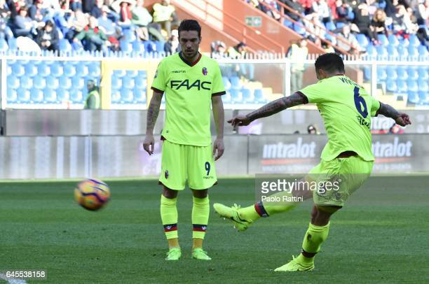Federico Viviani of Bologna score goal 01 during the Serie A match between Genoa CFC and Bologna FC at Stadio Luigi Ferraris on February 26 2017 in...