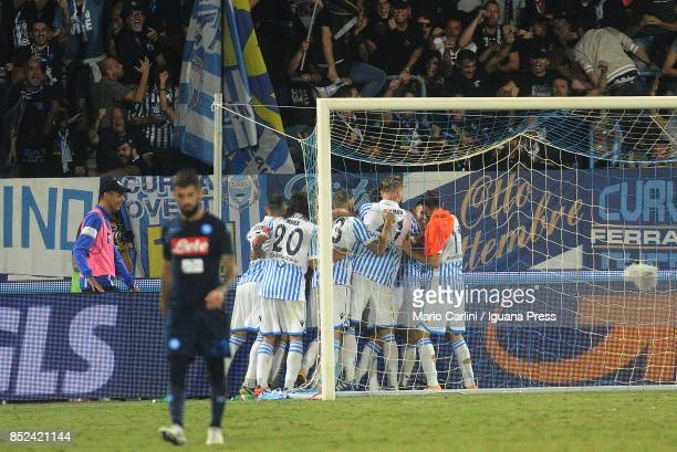Federico Viviani of Spak celebrates after scoring his team's third goal during the Serie A match between Spal and SSC Napoli at Stadio Paolo Mazza on...