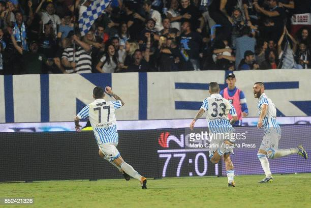 Federico Viviani of Spal celebrates after scoring his team's second goal during the Serie A match between Spal and SSC Napoli at Stadio Paolo Mazza...