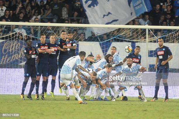 Federico Viviani of Spal scores his team's second goal during the Serie A match between Spal and SSC Napoli at Stadio Paolo Mazza on September 23...