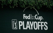 FedEx Cup banner is seen near the clubhouse during a practice round prior to the start of the TOUR Championship by CocaCola at East Lake Golf Club on...