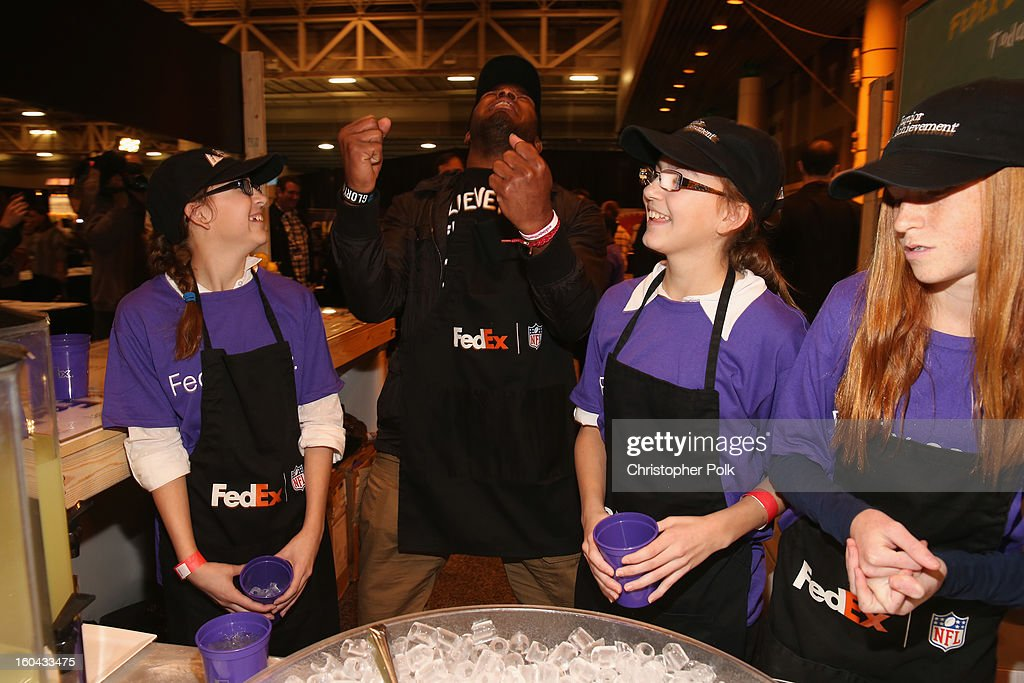 FedEx enlisted Washington Redskins running back <a gi-track='captionPersonalityLinkClicked' href=/galleries/search?phrase=Alfred+Morris&family=editorial&specificpeople=6350964 ng-click='$event.stopPropagation()'>Alfred Morris</a> to run a lemonade stand with Junior Achievement students in the Super Bowl XLVII Media Center, one of the most highly-trafficked venues of the Super Bowl city. The event celebrated the 10th season of the FedEx Air & Ground NFL Players of the Year awards and allowed the students to run their first business.