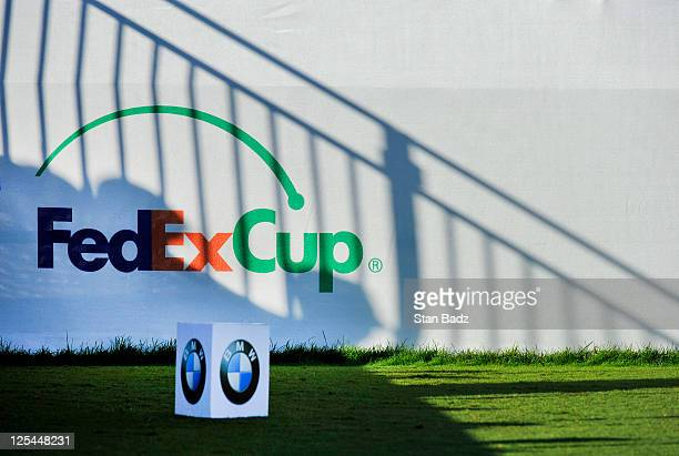 FedExCup logo is displayed on the first hole during the third round of the BMW Championship at Cog Hill Golf Country Club on September 17 2011 in...