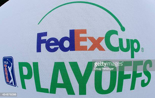 FedExCup logo is seen on a tee box during the final round of the BMW Championship at the Cherry Hills Country Club on September 7 2014 in Cherry...