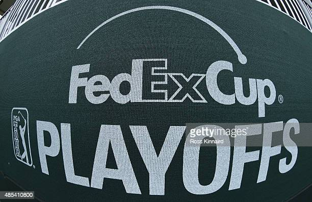 FedExCup Playoffs logo is seen on bunting under a hospitality tent during the first round of The Barclays at Plainfield Country Club on August 27...