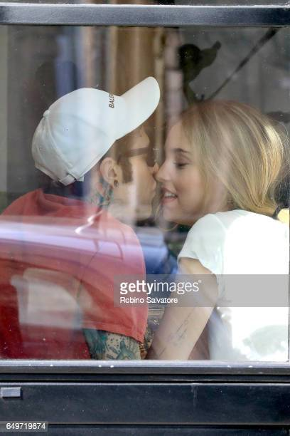 Fedez and Chiara Ferragni are seen on March 8 2017 in Milan Italy