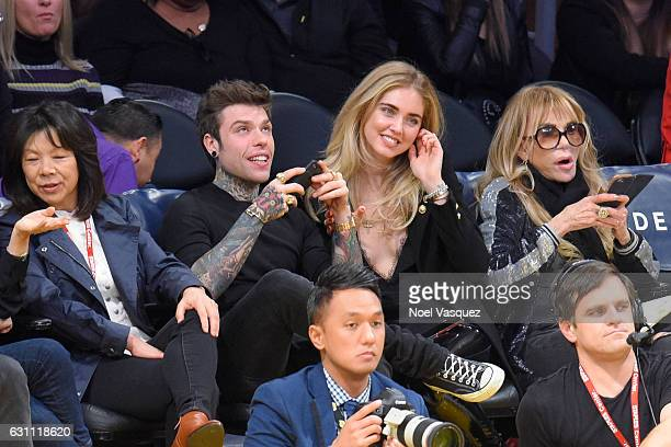 Fedez and Chiara Ferragni attend a basketball game between the Miami Heat and the Los Angeles Lakers at Staples Center on January 6 2017 in Los...