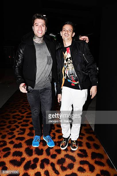 Fedez and Fabio Rovazzi attend 'Libera Il Tuo Istinto' Party by Magnum on April 7 2016 in Milan Italy