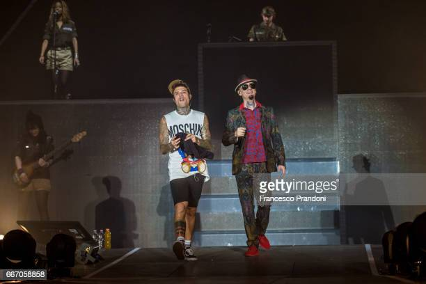 Fedez and JAx of JAx and Fedez perform at Mediolanum Forum on April 10 2017 in Milan Italy
