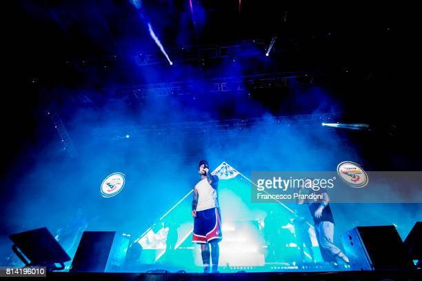 Fedez and JAx perform on stage during Lucca Summer Festival 2017 on July 13 2017 in Lucca Italy