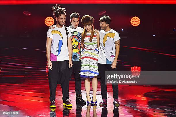 Fedez and Moosik attend 'X Factor' Tv Show on October 29 2015 in Milan Italy