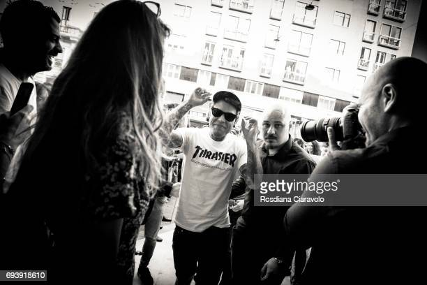 Fedez arrives at Stroili Oro Store Cso Buenos Aires Milan on June 8 2017 in Milan Italy