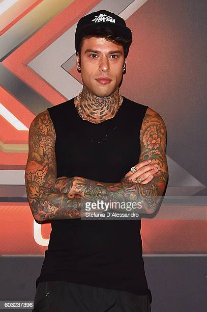 Fedez attends the press conference for 'X Factor X' on September 12 2016 in Milan Italy