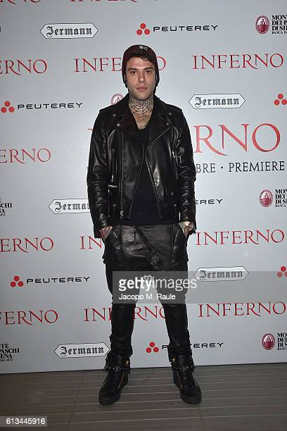 Fedez is seen in the VIP lounge ahead of 'Inferno' premiere on October 8 2016 in Florence Italy