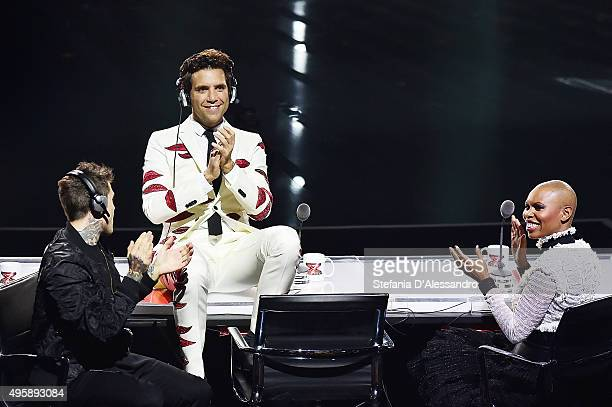 Fedez Mika and Skin attend 'X Factor' Tv Show on November 5 2015 in Milan Italy