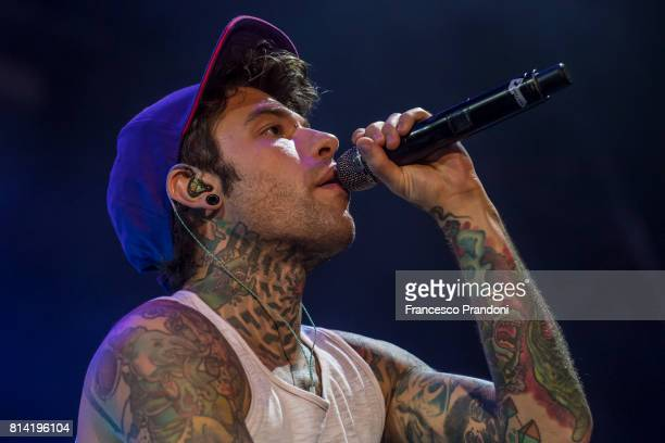 Fedez performs on stage during Lucca Summer Festival 2017 on July 13 2017 in Lucca Italy