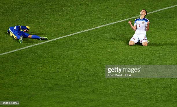 Fedor Chalov of Russia celebrates his goal during the FIFA U17 World Cup Chile 2015 Group E match between Korea DPR and Russia at Estadio Municipal...