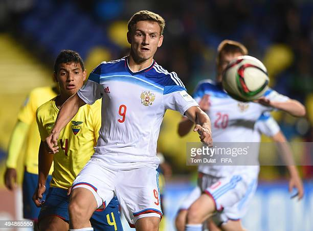 Fedor Chalov of Russia in action during the FIFA U17 World Cup Chile 2015 Round of 16 match between Russia and Ecuador at Estadio Municipal de...