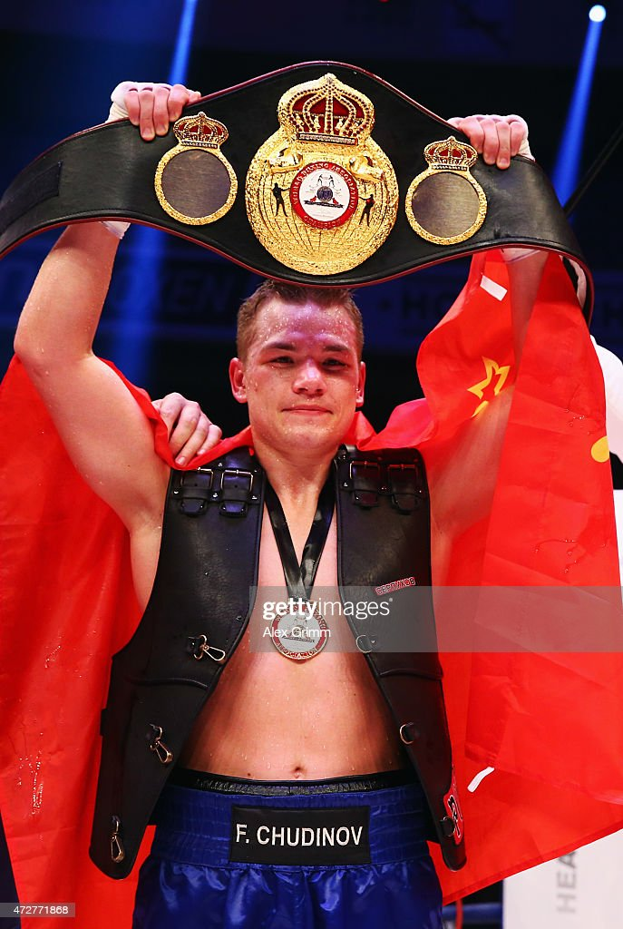 Fedor Chudinov of Russia celebrates after defeating Felix Sturm of Germany in their WBA super middle weight World Championship fight at Festhalle on...