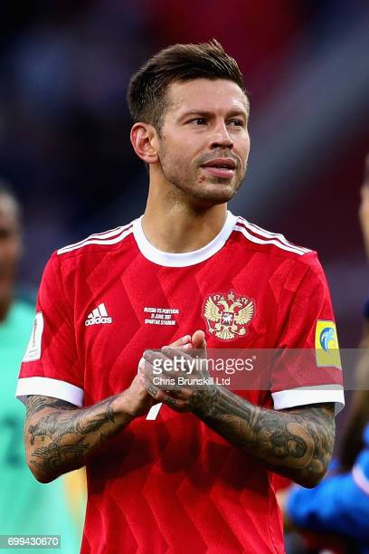 Fedor Smolov of Russia claps during the FIFA Confederations Cup Russia 2017 Group A match between Russia and Portugal at Spartak Stadium on June 21...