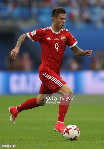 Fedor Smolov of Russia in action during the FIFA Confederations Cup Russia 2017 Group A match between Russia and New Zealand at Saint Petersburg...
