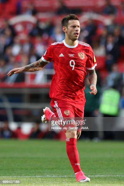 Fedor Smolov of Russia in action during the FIFA Confederations Cup Russia 2017 Group A match between Russia and Portugal at Spartak Stadium on June...