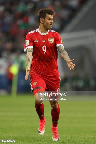 Fedor Smolov of Russia in action during the FIFA Confederations Cup Russia 2017 Group A match between Mexico and Russia at Kazan Arena on June 24...