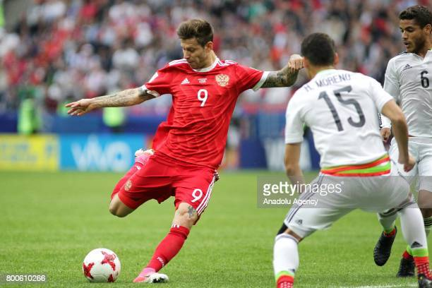 Fedor Smolov of Russia in action during the FIFA Confederations Cup 2017 group A soccer match between Mexico and Russia at 'Kazan Arena' stadium in...