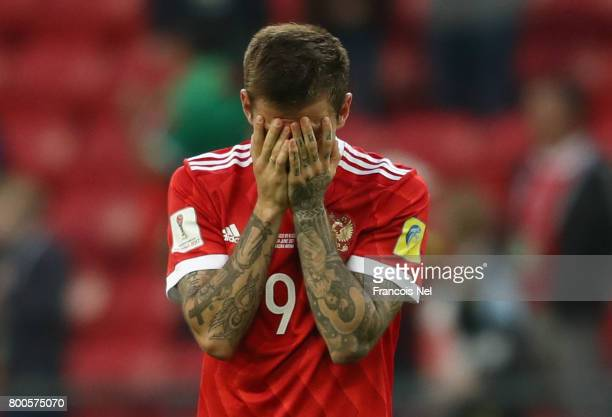 Fedor Smolov of Russia is dejected after the FIFA Confederations Cup Russia 2017 Group A match between Mexico and Russia at Kazan Arena on June 24...