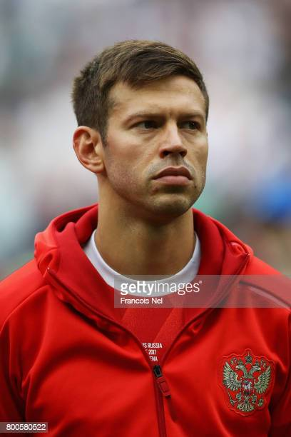 Fedor Smolov of Russia lines up prior to the FIFA Confederations Cup Russia 2017 Group A match between Mexico and Russia at Kazan Arena on June 24...