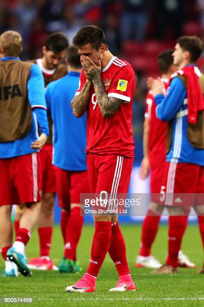 Fedor Smolov of Russia looks dejected at fulltime following the FIFA Confederations Cup Russia 2017 Group A match between Mexico and Russia at Kazan...