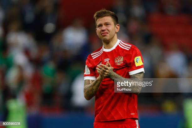 Fedor Smolov of Russia national team reacts after his team lost during the Group A FIFA Confederations Cup Russia 2017 match between Russia and...