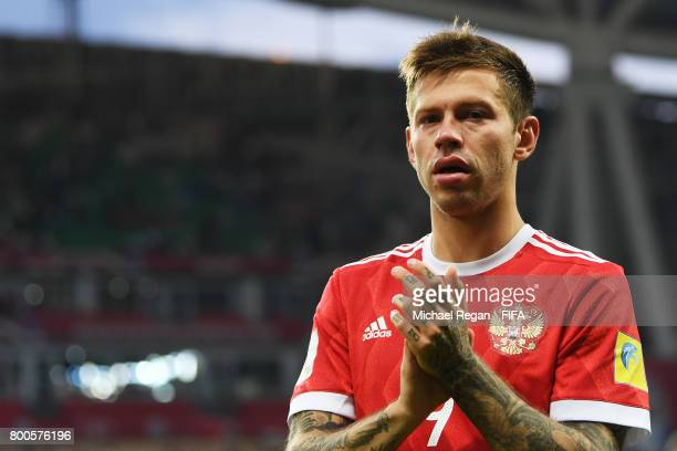 Fedor Smolov of Russia shows appreciation to the fans after the FIFA Confederations Cup Russia 2017 Group A match between Mexico and Russia at Kazan...