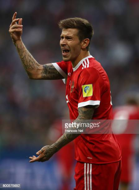 Fedor Smolov of Russia shows frustration during the FIFA Confederations Cup Russia 2017 Group A match between Mexico and Russia at Kazan Arena on...