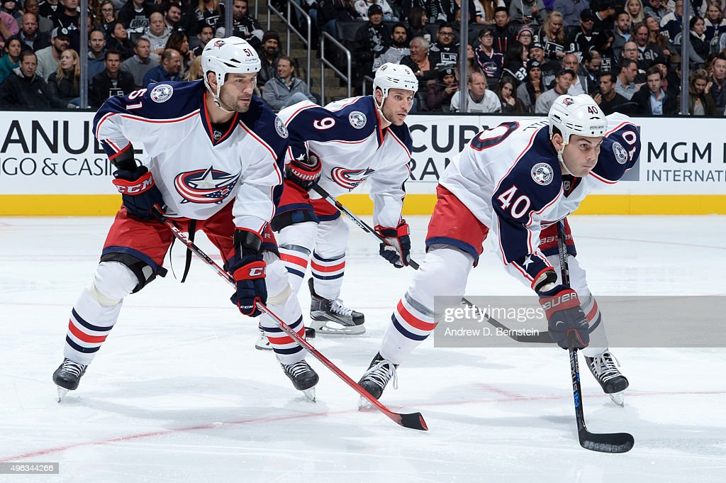 Fedor Tyutin Gregory Campbell and Jared Boll of the Columbus Blue Jackets prepare for a faceoff during a game against the Los Angeles Kings at...