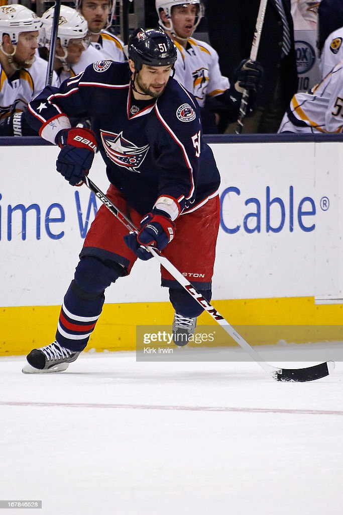 Fedor Tyutin #51 of the Columbus Blue Jackets controls the puck during the game against the Nashville Predators on April 27, 2013 at Nationwide Arena in Columbus, Ohio.